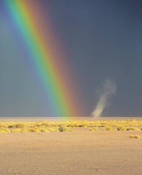 Dust Photograph - Rainbow And Dust Devil by Peter J. Raymond