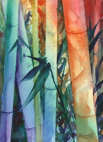 Painting - Rainbow Bamboo 2 by Marionette Taboniar
