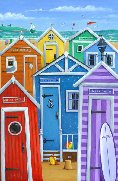 Wall Art - Photograph - Rainbow Beach Huts by MGL Meiklejohn Graphics Licensing