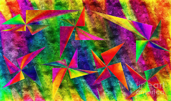 Digital Art - Rainbow Bliss - Pin Wheels - Painterly - Abstract - H by Andee Design