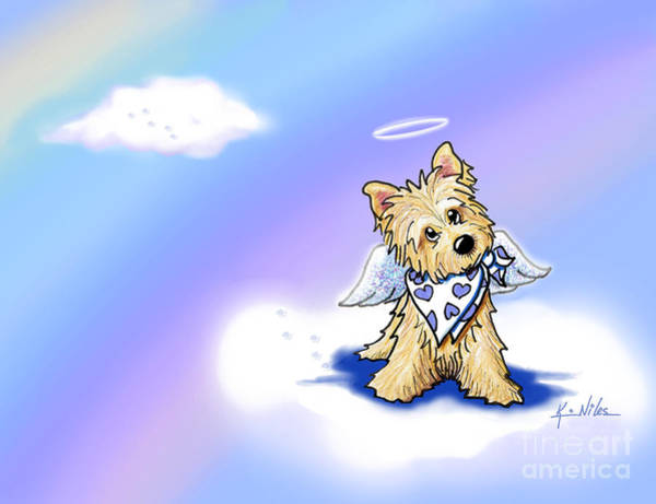 Terrier Digital Art - Rainbow Bridge Cairn Angel by Kim Niles