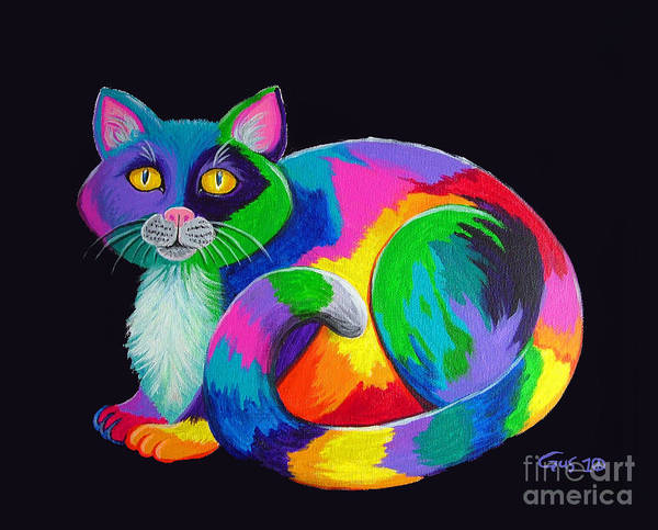 Calico Cat Painting - Rainbow Calico by Nick Gustafson