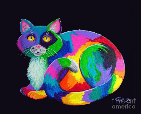 Kitten Wall Art - Painting - Rainbow Calico by Nick Gustafson