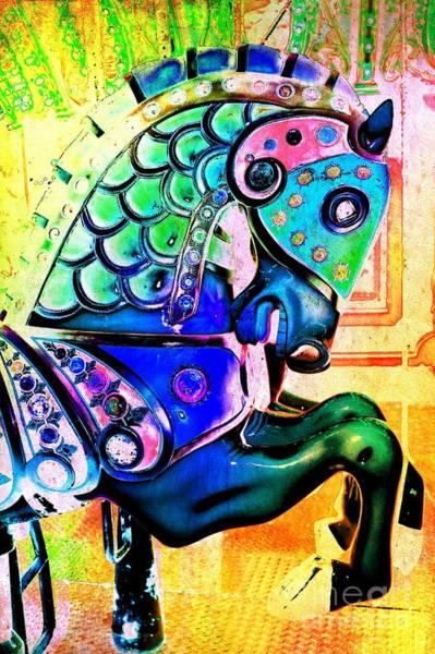 Carousel Digital Art - Rainbow Carousel Horse by Patty Vicknair