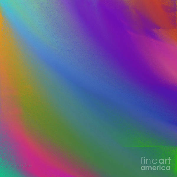 Digital Art - Rainbow Color Wave Abstract Square by Andee Design