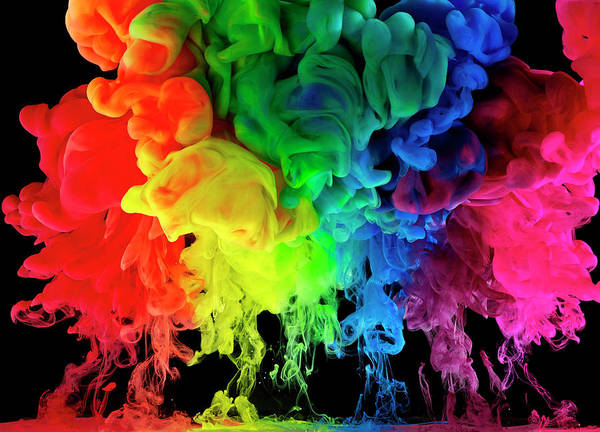 Spray Paint Photograph - Rainbow Colored Ink, Paint In Water by Mark Mawson