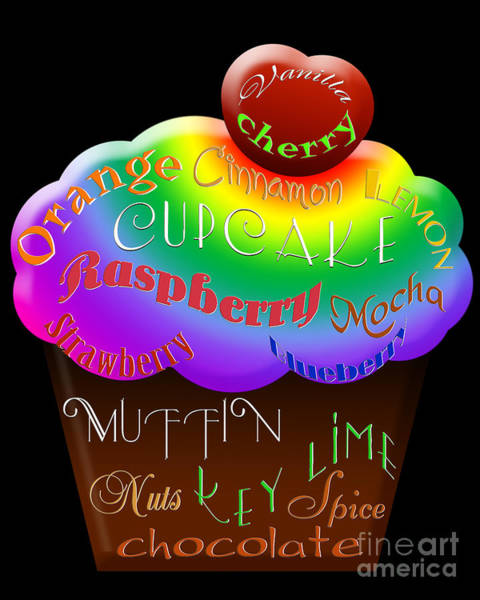Digital Art - Rainbow Cupcake Typography by Andee Design