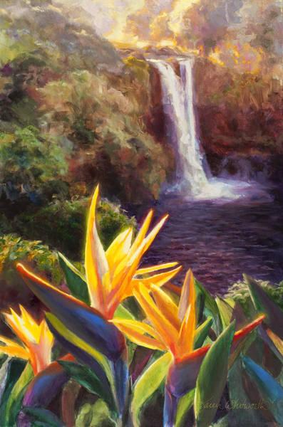 Bird Of Paradise Painting - Rainbow Falls Big Island Hawaii Waterfall  by Karen Whitworth