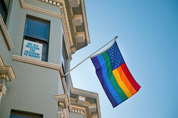 Gay Pride Flag Photograph - Rainbow Flag Marriage Equality by David Smith