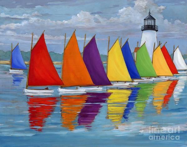 Oars Wall Art - Painting - Rainbow Fleet by Paul Brent