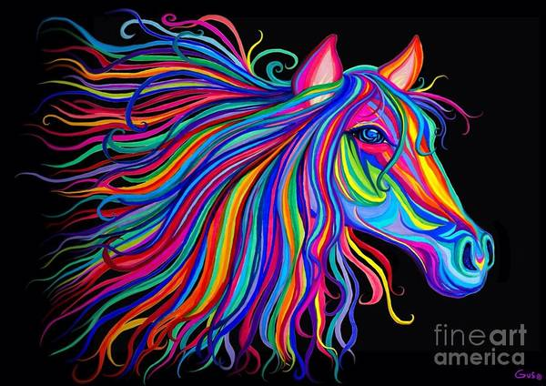 Fantasy Horse Wall Art - Digital Art - Rainbow Horse Too by Nick Gustafson