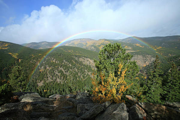 Rainbow In Mountains Art Print