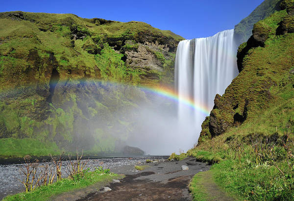 Multi Exposure Photograph - Rainbow In Skogafoss, Waterfall In by Nora Carol Photography