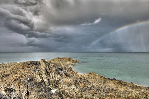 Photograph - Rainbow In Storm Clouds Pointe De Saint Cast  by Gary Eason