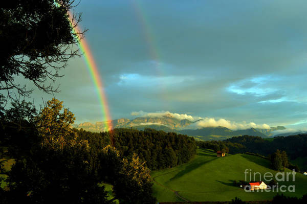Photograph - Rainbow In The Swiss Alps by Susanne Van Hulst