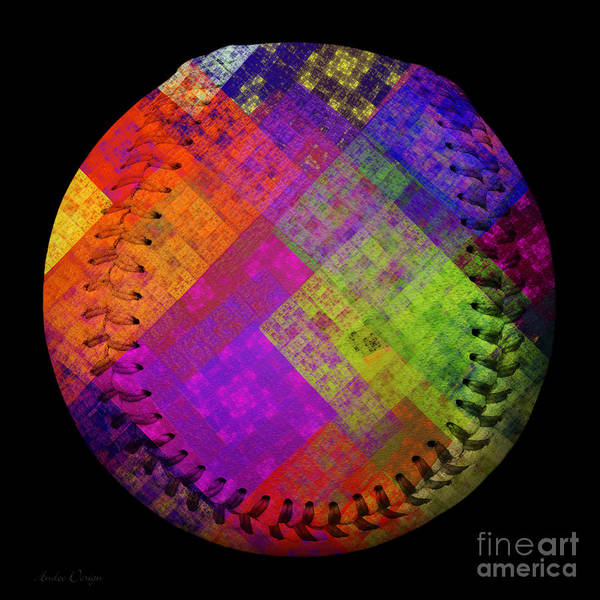 Digital Art - Rainbow Infusion Baseball Square by Andee Design