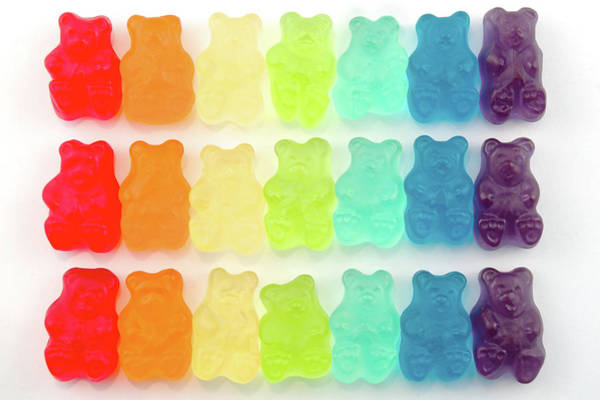 White Background Photograph - Rainbow Jelly Bear Candy by Melissa Ross