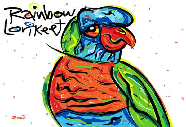 Green Parrot Drawing - Rainbow Lorikeet by Brett LaGue