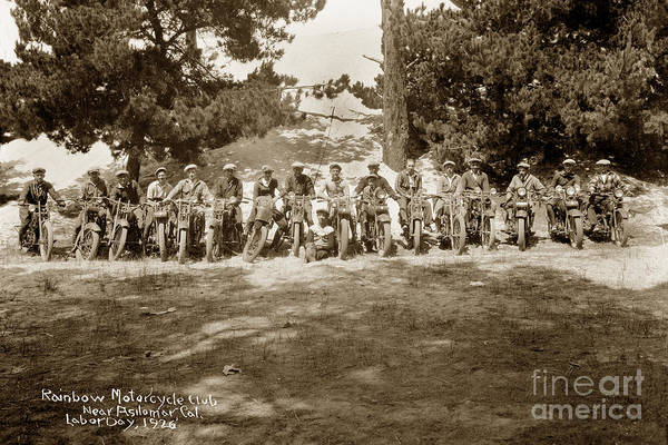 Photograph - Rainbow Motorcycle Club Pacific Grove Labor Day 1926 by California Views Archives Mr Pat Hathaway Archives