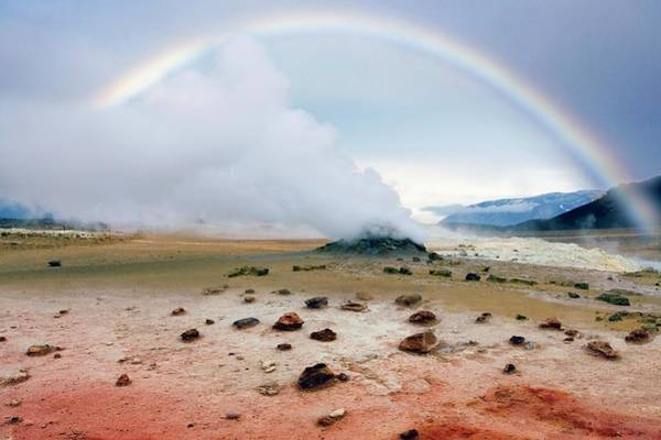 Geothermal Photograph - Rainbow Over Geothermal Vent by Steve Allen/science Photo Library