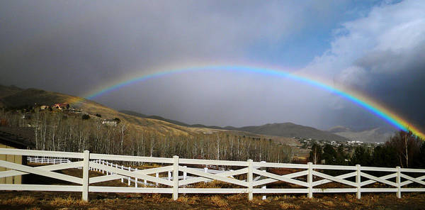 Photograph - Rainbow Over Horse Ranch by Frank Wilson