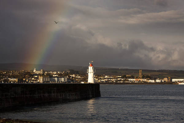 Photograph - Rainbow Over Newlyn Harbour Lighthouse by Tony Mills