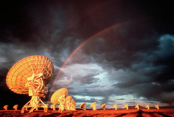 Very Large Array Photograph - Rainbow Over The Vla Radio Telescope by Peter Menzel/science Photo Library