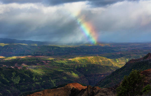 Waimea Canyon Photograph - Rainbow Over Waimea Canyon by Don Smith