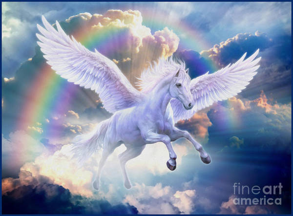 Unicorn Digital Art - Rainbow Pegasus by MGL Meiklejohn Graphics Licensing