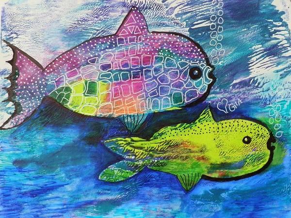 Elwood Blues Painting - Rainbow Puffer by Jann Elwood