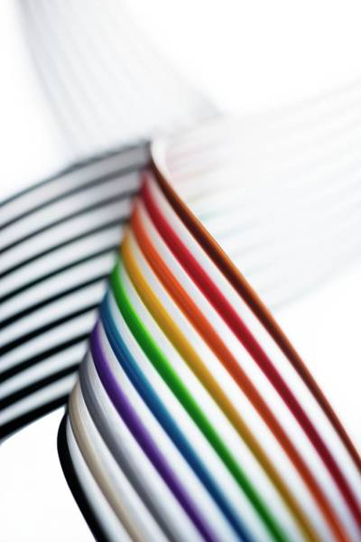 Cabling Photograph - Rainbow Ribbon Cable by Cordelia Molloy/science Photo Library
