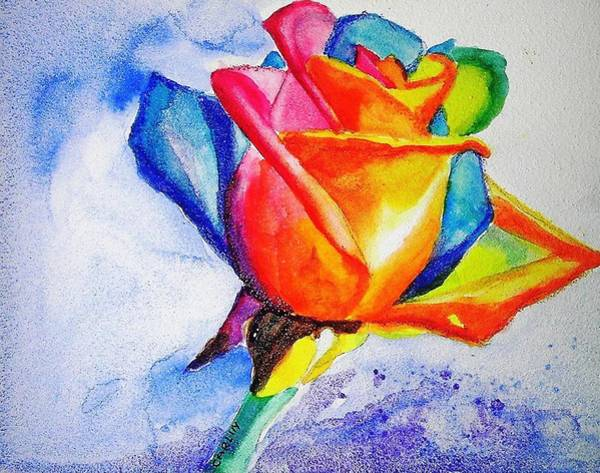 Painting - Rainbow Rose by Carlin Blahnik CarlinArtWatercolor