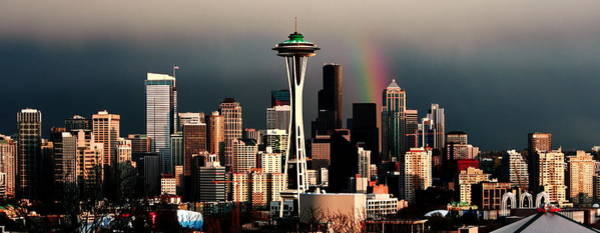 Wall Art - Photograph - Rainbow Seattle Panorama by Benjamin Yeager