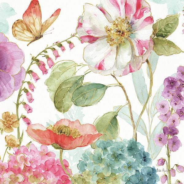 Golden Bloom Painting - Rainbow Seeds Flowers II by Lisa Audit