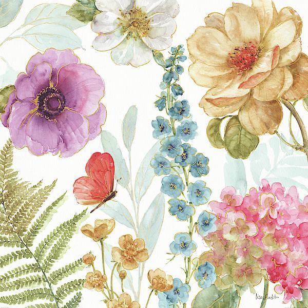 Golden Bloom Painting - Rainbow Seeds Flowers IIi by Lisa Audit