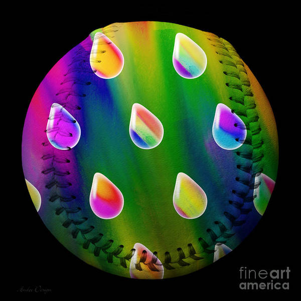 Digital Art - Rainbow Showers Baseball Square by Andee Design