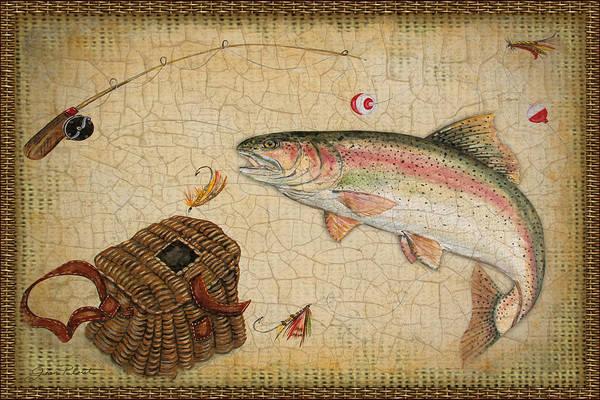 Burlap Painting - Rainbow Trout-basket Weave by Jean Plout