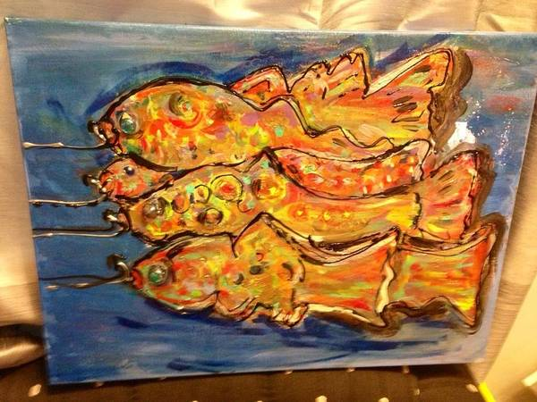Horizontally Painting - Rainbow Trout by Lauren Meredith