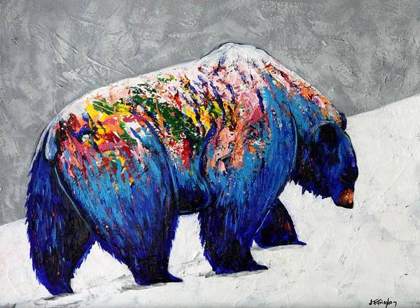 Wall Art - Painting - Rainbow Warrior - Heavy Going Grizzly by Joe  Triano