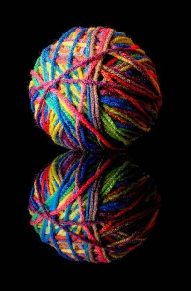 Photograph - Rainbow Yarn And Reflection by Jim Hughes