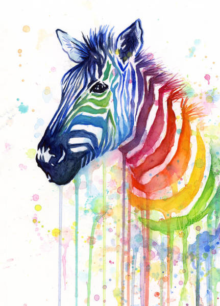 Bright Wall Art - Painting - Rainbow Zebra - Ode To Fruit Stripes by Olga Shvartsur