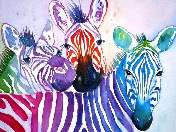 Lgbt Painting - Rainbow Zebra's by Carlin Blahnik CarlinArtWatercolor