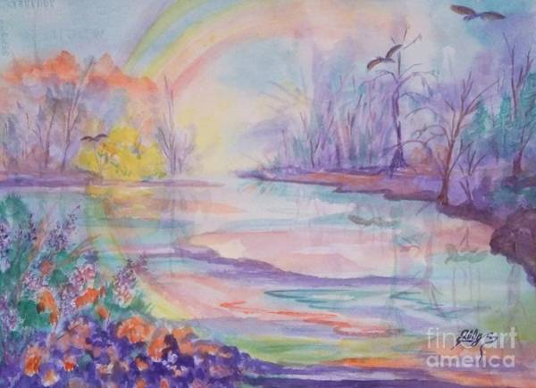 Wall Art - Painting - Rainbows End by Ellen Levinson
