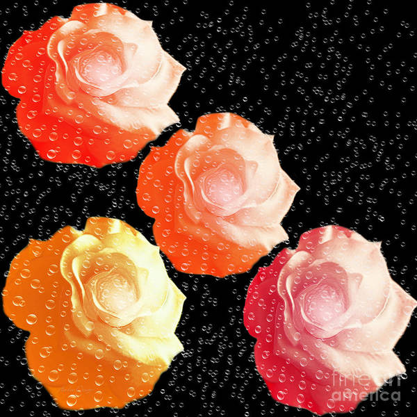 Digital Art - Raindrops On Roses - My Favorite Things by Andee Design