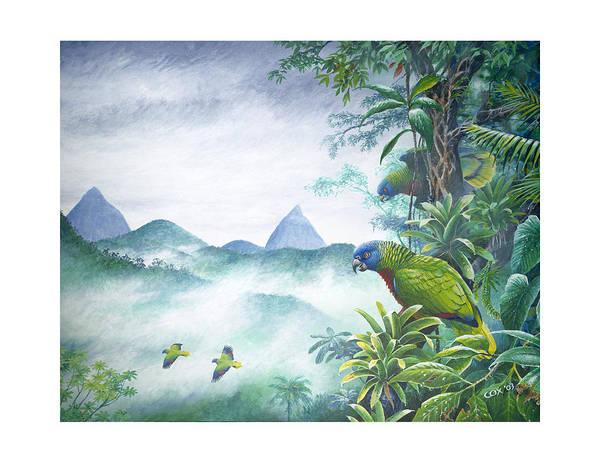 Painting - Rainforest Realm - St. Lucia Parrots by Christopher Cox