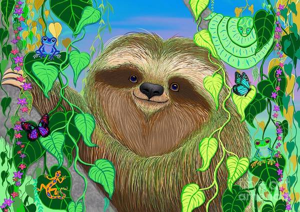 Rain Forest Painting - Rain Forest Sloth by Nick Gustafson