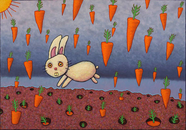 Bunny Rabbit Wall Art - Painting - Raining Carrots by James W Johnson