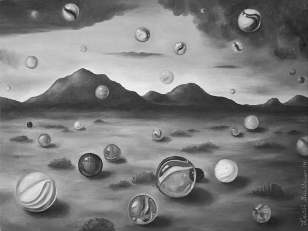 Wall Art - Painting - Raining Marbles Bw by Leah Saulnier The Painting Maniac