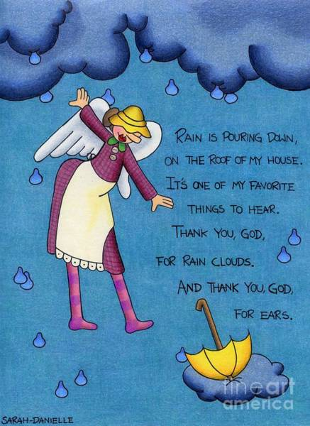 Hand Drawn Drawing - Rainy Day Angel by Sarah Batalka