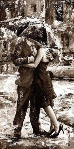 Girlfriend Painting - Rainy Day - Love In The Rain 2 Sepia by Emerico Imre Toth